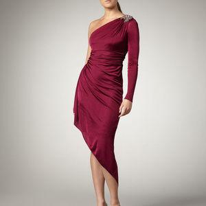 David Meister mulberry 8M one shoulder dress I188